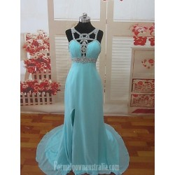 Australia Formal Dress Evening Gowns Pool Petite A Line Sweetheart Chapel Train Chiffon