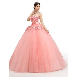 Australia Formal Dress Evening Gowns Watermelon Petite Ball Gown Strapless Long Floor Length Lace Dress Organza Tulle Charmeuse