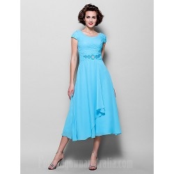 A-line Plus Sizes Dresses Petite Mother of the Bride Dress Pool Tea-length Short Sleeve Chiffon