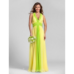 Long Floor-length Georgette Bridesmaid Dress Daffodil Plus Sizes Dresses Petite A-line Halter