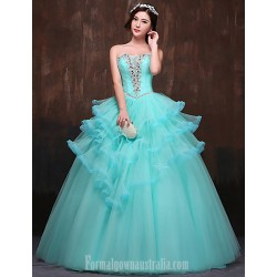 Australia Formal Dress Evening Gowns Jade Petite Ball Gown Strapless Long Floor-length Satin Tulle Polyester
