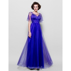 A-line Plus Sizes Dresses Petite Mother of the Bride Dress Regency Long Floor-length Short Sleeve Tulle