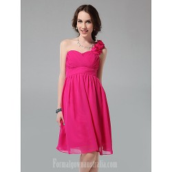 Short Knee-length Chiffon Bridesmaid Dress Fuchsia Plus Sizes Dresses Petite A-line Princess Sexy One Shoulder Sweetheart