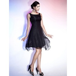 Australia Cocktail Party Dresses Holiday Dress Black Plus Sizes Dresses Petite A-line Princess Straps Square Short Knee-length Chiffon