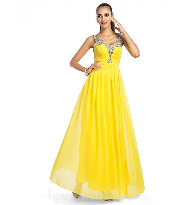 Prom Gowns Military Ball Australia Formal Dress Evening Gowns Daffodil Plus Sizes Dresses Petite A-line Princess V-neck Long Floor-length Chiffon Tulle Formal Dress Australia