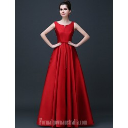 Australia Formal Evening Dress Ruby Burgundy Champagne Plus Sizes Dresses A-line Scoop Long Floor-length Satin
