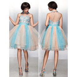 Australia Cocktail Party Dress Multi-color A-line Jewel Short Knee-length Organza