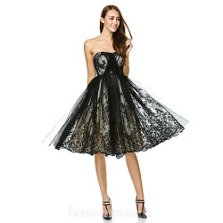 Australia Formal Dresses Cocktail Dress Party Dress Black A Line Strapless Short Knee Length Tulle