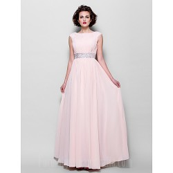 A-line Plus Sizes Dresses Petite Mother of the Bride Dress Pearl Pink Long Floor-length Short Sleeve Chiffon
