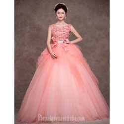 Australia Formal Dress Evening Gowns Pearl Pink Petite Ball Gown Jewel Long Floor-length Satin Tulle Polyester
