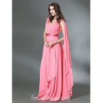 Prom Gowns Military Ball Australia Formal Dress Evening Gowns Watermelon Plus Sizes Dresses Petite A-line Princess V-neck Long Floor-length Chiffon Stretch Satin Formal Dress Australia