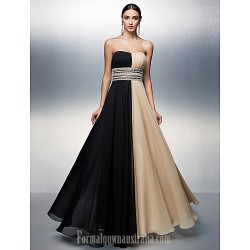 Australia Formal Dress Evening Gowns Multi-color Plus Sizes Dresses Petite A-line Strapless Long Floor-length Chiffon