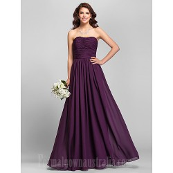 Long Floor Length Chiffon Bridesmaid Dress Ruby Grape Royal Blue Champagne Plus Sizes Dresses Petite A Line Strapless
