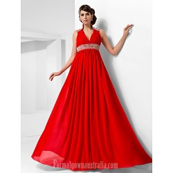 Australia Formal Evening Dress Military Ball Dress Ruby Plus Sizes Dresses Petite A-line Princess High Neck V-neck Long Floor-length Chiffon