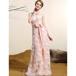 Australia Formal Evening Dress Pearl Pink Plus Sizes Dresses A-line Strapless Long Floor-length Lace Dress