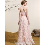 Australia Formal Dress Evening Gowns Pearl Pink Plus Sizes Dresses A-line Strapless Long Floor-length Lace Dress Formal Dress Australia