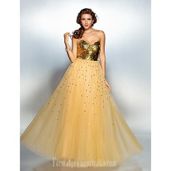 Prom Gowns Australia Formal Dress Evening Gowns Gold Plus Sizes Dresses Petite A-line Sweetheart Long Floor-length Tulle Dress Sequined