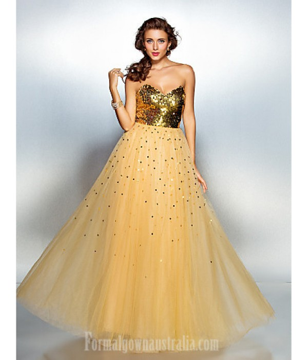 Prom Gowns Australia Formal Dress Evening Gowns Gold Plus Sizes Dresses Petite A-line Sweetheart Long Floor-length Tulle Dress Sequined Formal Dress Australia
