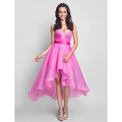 Australia Formal Dress Evening Gowns Prom Gowns Sweet 16 Dress Fuchsia Plus Sizes Dresses Petite A-line Sweetheart Strapless Asymmetrical Short Knee-length Organza