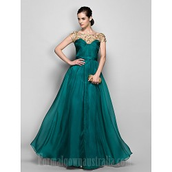 Australia Formal Dress Evening Gowns Military Ball Dress Jade Plus Sizes Dresses Petite A-line Bateau Long Floor-length Chiffon