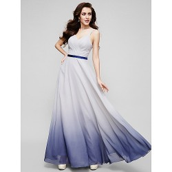 Australia Formal Dress Evening Gowns Multi-color A-line Straps Long Floor-length Chiffon