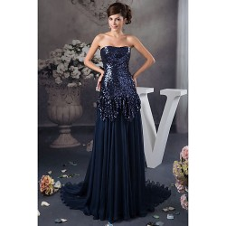 Australia Formal Dress Evening Gowns Dark Navy Petite A-line Strapless Long Floor-length Satin Sequined