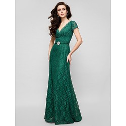 Australia Formal Evening Dress Military Ball Dress Dark Green Plus Sizes Dresses Petite A-line V-neck Long Floor-length Lace Dress