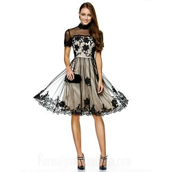 Australia Formal Dresses Cocktail Dress Party Dress Black A Line High Neck Short Knee Length Tulle