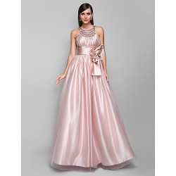Australia Formal Evening Dress Prom Gowns Military Ball Dress Pearl Pink Plus Sizes Dresses Petite A-line Jewel Long Floor-length Stretch Satin Tulle