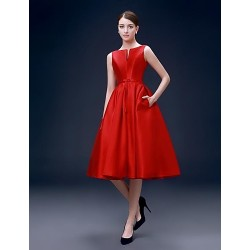 Australia Formal Dresses Cocktail Dress Party Dress Ruby Plus Sizes Dresses A Line Bateau Short Knee Length Satin