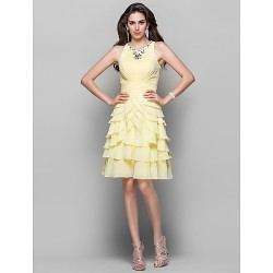Australia Cocktail Party Dresses  Dress Daffodil Plus Sizes Dresses Petite A-line Princess High Neck Short Knee-length Chiffon