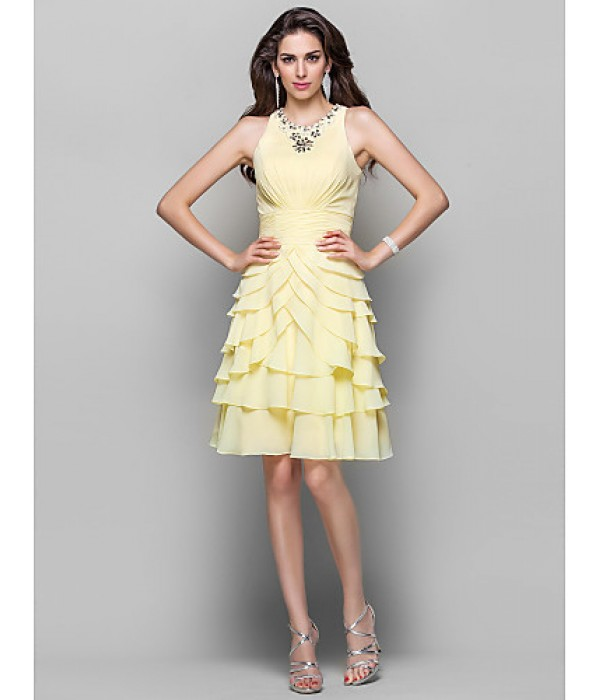Australia Formal Dresses Cocktail Dress Party Dress Daffodil Plus Sizes Dresses Petite A-line Princess High Neck Short Knee-length Chiffon Formal Dress Australia