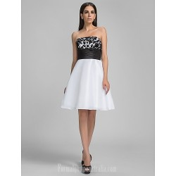 Australia Cocktail Party Dresses Graduation Holiday Homecoming Dress White Plus Sizes Dresses Petite A-line Strapless Short Knee-length Taffeta