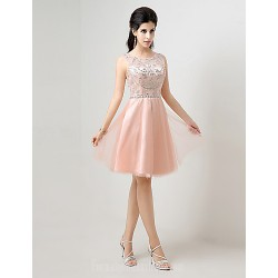 Australia Cocktail Party Dress Pearl Pink Plus Sizes Dresses Petite A-line Jewel Short Knee-length
