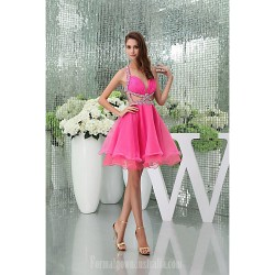 Australia Formal Dresses Cocktail Dress Party Dress Candy Pink Petite A Line Halter Sweetheart Short Knee Length Court Train Organza