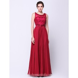 Australia Formal Dress Evening Gowns Burgundy A-line Scoop Long Floor-length Chiffon Lace