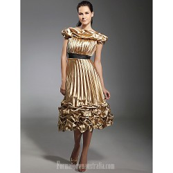 Australia Cocktail Party Dresses Holiday Dress Gold Plus Sizes Dresses Petite A-line Princess Off-the-shoulder Tea-length Stretch Satin