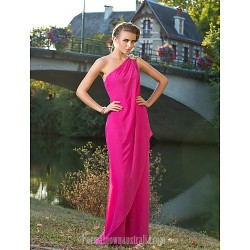 Australia Formal Dress Evening Gowns Wedding Party Dress Fuchsia Plus Sizes Dresses Petite Sexy One Shoulder Long Floor-length Chiffon