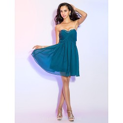 Australia Cocktail Party Dress Ink Blue Plus Sizes Dresses Petite A-line Sweetheart Short Knee-length Chiffon