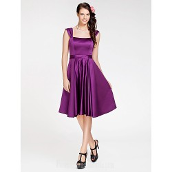 Short Knee Length Satin Bridesmaid Dress Grape Plus Sizes Dresses Petite A Line Princess Square Straps