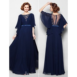 A-line Plus Sizes Dresses Petite Mother of the Bride Dress Dark Navy Long Floor-length Half Sleeve Georgette Lace
