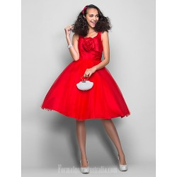 Dress Ruby Plus Sizes Dresses Petite Ball Gown V Neck Short Knee Length Satin Tulle