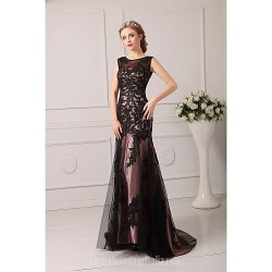 Australia Formal Dress Evening Gowns Black Plus Sizes Dresses Petite A-line Jewel Court Train Tulle
