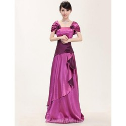 Australia Formal Dress Evening Gowns Fuchsia Plus Sizes Dresses A Line Square Long Floor Length Stretch Satin