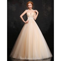 Australia Formal Dress Evening Gowns Champagne Ball Gown V-neck Long Floor-length Lace Dress Satin Tulle