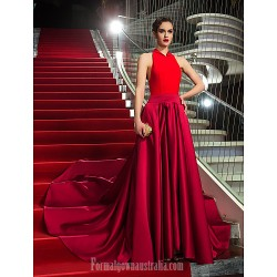 Military Ball Australia Formal Dress Evening Gowns Multi-color Plus Sizes Dresses Petite A-line Halter Asymmetrical Jersey Satin