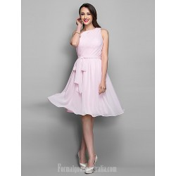 Australia Formal Dresses Cocktail Dress Party Dress Holiday Dress Blushing Pink Plus Sizes Dresses Petite A Line Sexy One Shoulder Short Knee Length Chiffon