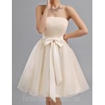 Short Knee-length Chiffon Bridesmaid Dress Champagne A-line Sweetheart Formal Dress Australia
