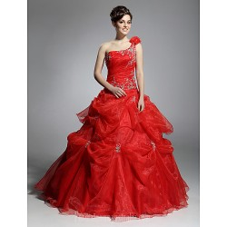 Prom Gowns Australia Formal Dress Evening Gowns Quinceanera Sweet 16 Dress Ruby Plus Sizes Dresses Petite Ball Gown Sexy One Shoulder Long Floor-length Organza