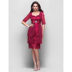 Australia Formal Dresses Cocktail Dress Party Dress Burgundy Plus Sizes Dresses Petite A Line Princess Sweetheart Short Knee Length Lace Stretch Satin